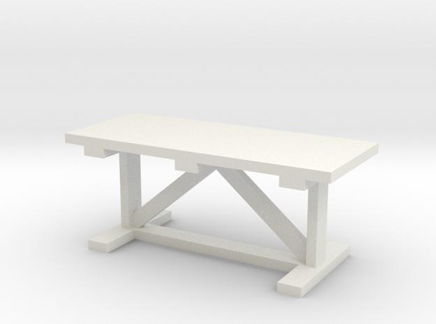 Miniature 1:48 Trestle Rustic Farm Table in White Natural Versatile Plastic