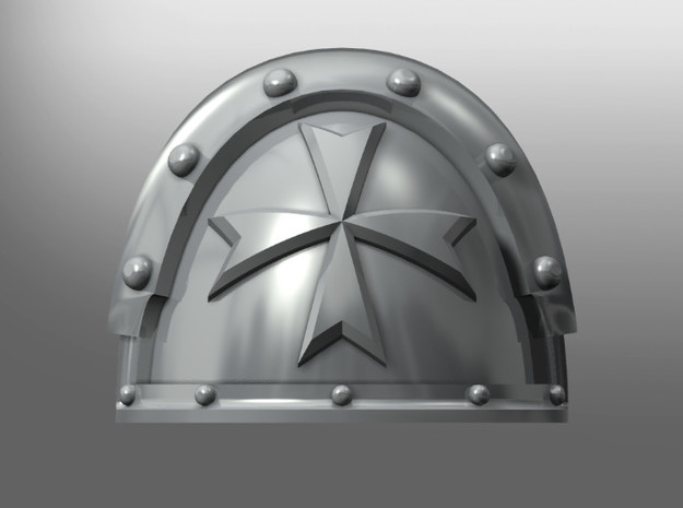 Metallus ptrn shoulder pads: Black Teutons in Smooth Fine Detail Plastic: Small