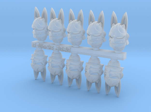 Usagi-pattern helms for bunny space nuns in Smoothest Fine Detail Plastic