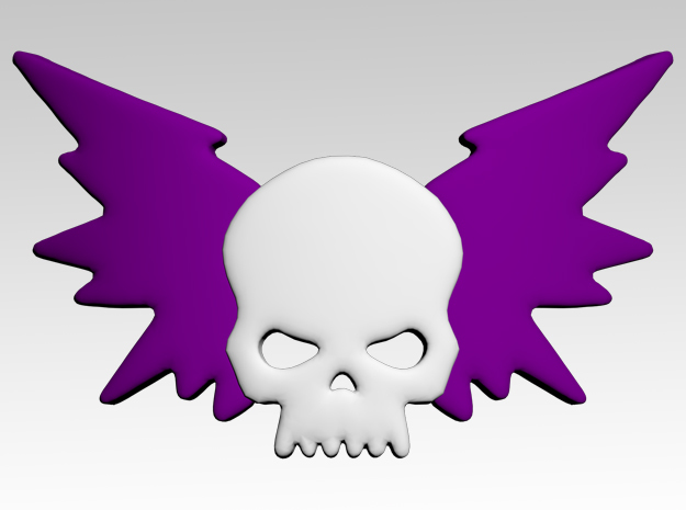 Skull & Electric Wings Shoulder Icons x50 in Smooth Fine Detail Plastic