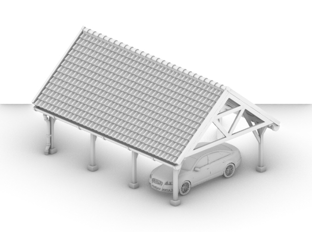 Car Shed 01. 1:87 Scale in White Natural Versatile Plastic