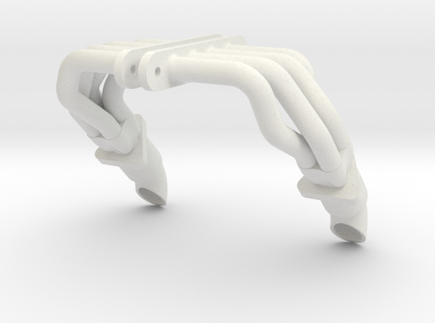 SMT10 MJ Style Headers With Flange Muffler And Tip in White Natural Versatile Plastic: 1:10