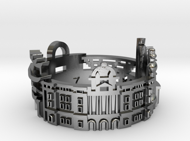 Shanghai - Explore the World with Cityscape Rings in Polished Silver: 7 / 54