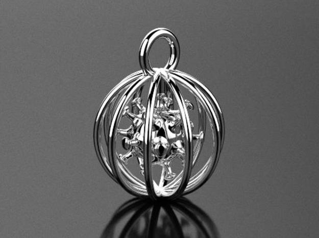 Coronavirus Pendant Sphere in Polished Silver