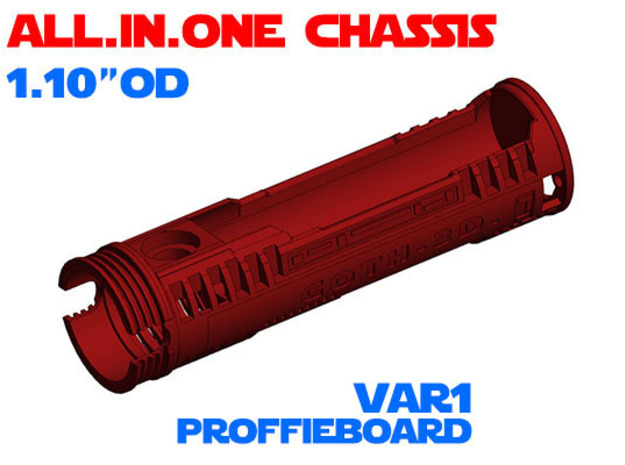"""ALL.IN.ONE - 1.10""""OD - Proffie chassis Var1 in White Natural Versatile Plastic"""