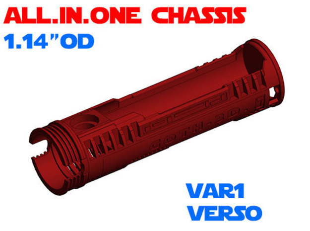 """ALL.IN.ONE - 1.14""""OD - Verso chassis Var1 in White Natural Versatile Plastic"""