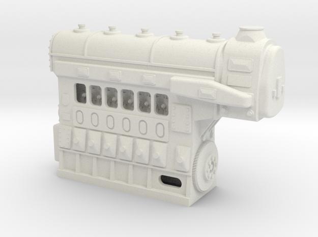 Fairbanks-Morse 1034HP 6cyl Diesel Engine in White Natural Versatile Plastic: 1:48 - O