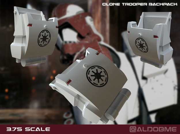 Clone Trooper Backpack 3.75 scale in Smooth Fine Detail Plastic