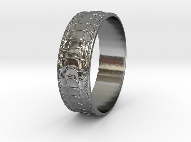 Reptile Skin Ring ~ version 1 - size 10 in Polished Silver