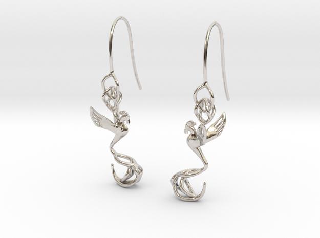 Phoenix earring in Platinum