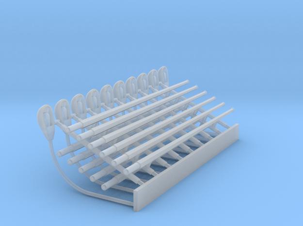 HO - Lampadaires de quai (1 branche) x10 in Smooth Fine Detail Plastic
