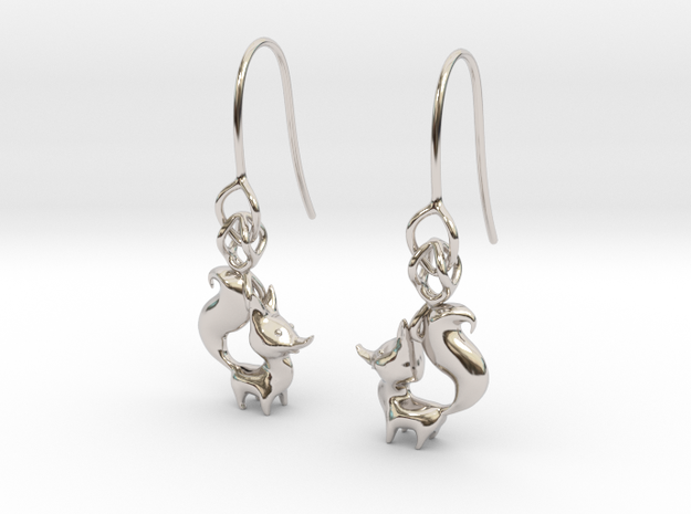 Arctic Fox earring in Rhodium Plated Brass