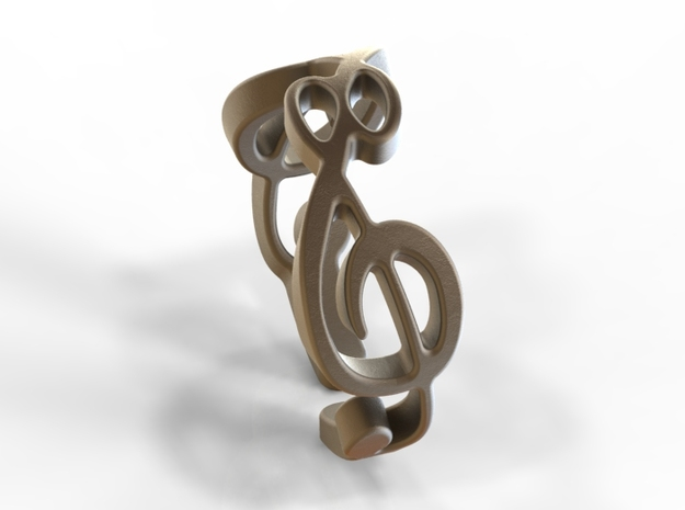 Treble Clef Ring (Size 5)  3d printed Bronze Matte