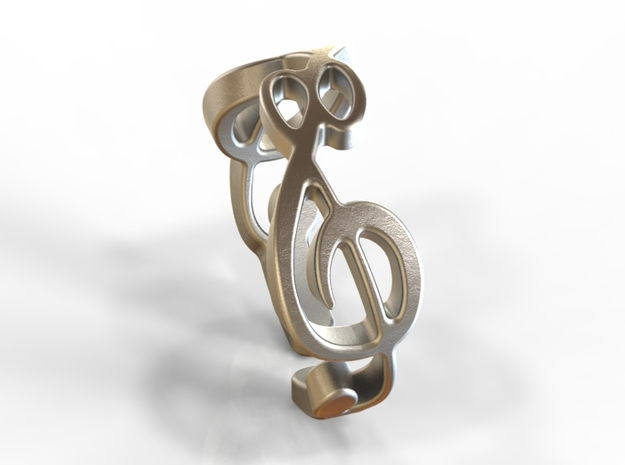Treble Clef Ring (Size 5)  3d printed Stainless Steel