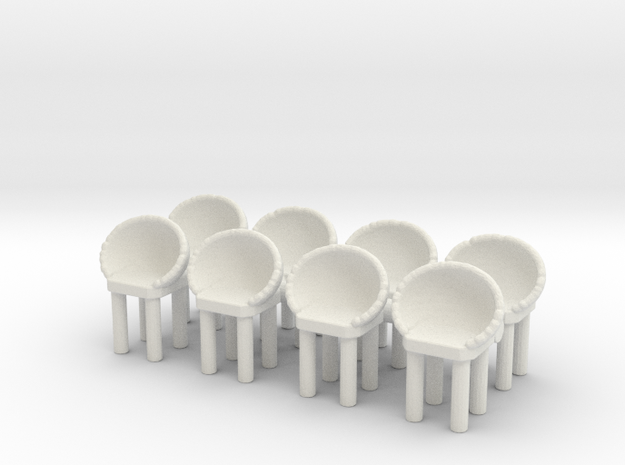 Modern Bar Chair (x8) 1/72 in White Natural Versatile Plastic