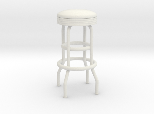 Soda Fountain Bar Stool 02. 1:12 Scale in White Natural Versatile Plastic