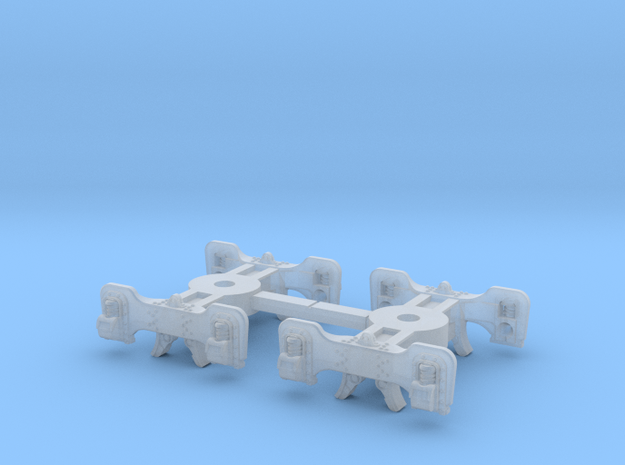 T95s x2 N scale short Fox trucks, screw mount in Smoothest Fine Detail Plastic