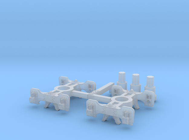 T95p x2 N scale short Fox trucks, pin mount in Smoothest Fine Detail Plastic