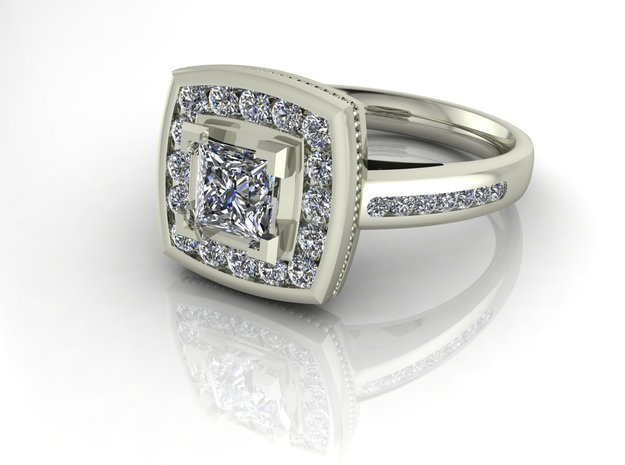 Cushion halo engagment NO STONES SUPPLIED in Fine Detail Polished Silver