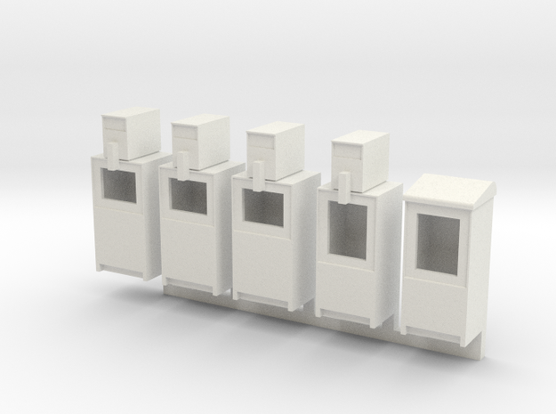 Newspaper Boxes in HO in White Natural Versatile Plastic: 1:87 - HO
