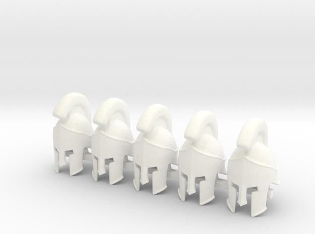 5 x Spartan Helmet 300  in White Processed Versatile Plastic