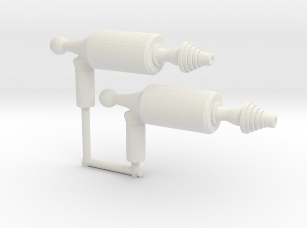 Space Ray Pistol (3mm, 4mm, 5mm) in White Natural Versatile Plastic: Large