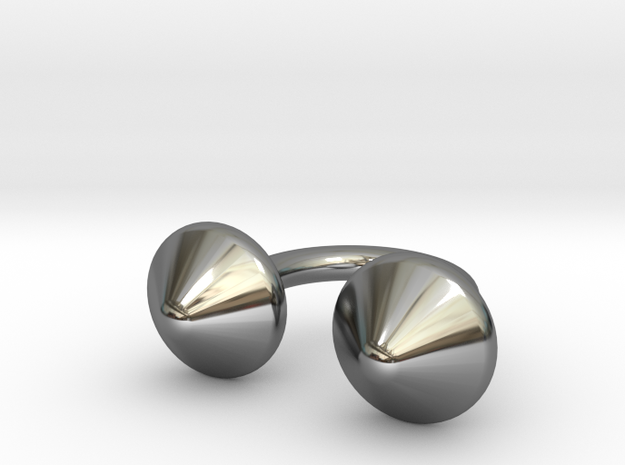 Awesome Button Ring in Fine Detail Polished Silver