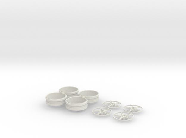 1/12 centerlock 5 star wheels in White Strong & Flexible