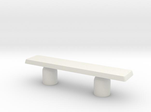 Modern Miniature 1:24 Sidetable in White Natural Versatile Plastic: 1:24
