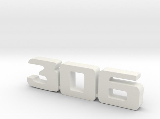 keychain peugeot 306 in White Natural Versatile Plastic