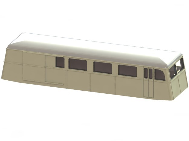 Swedish wagon for railcar UCFo3 N-scale in Smooth Fine Detail Plastic