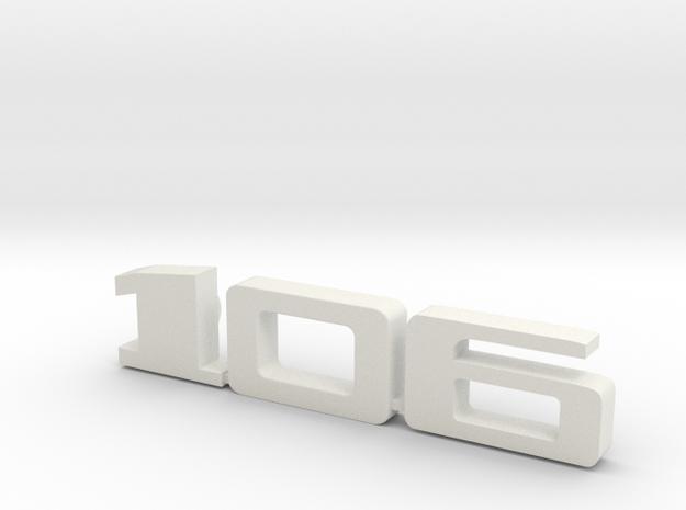 keychain peugeot 106 in White Natural Versatile Plastic