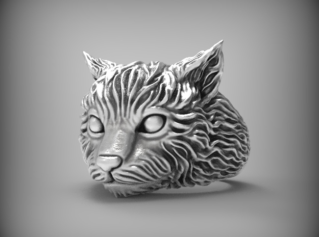 Cute and fluffy cat ring, size 6.5 in Natural Silver
