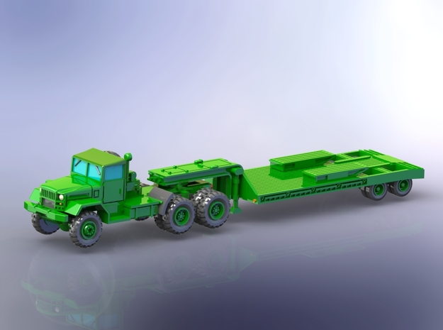 M123C Tractor w. M172 Lowbed Trailer 1/ 220 in Smooth Fine Detail Plastic