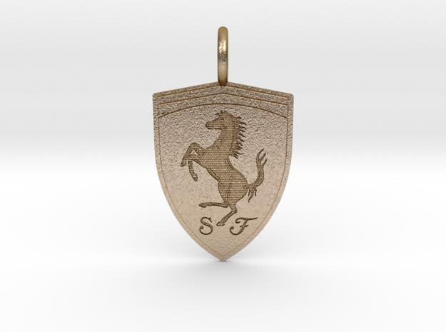 Ferrari Emblem Pendant in Polished Gold Steel: Small