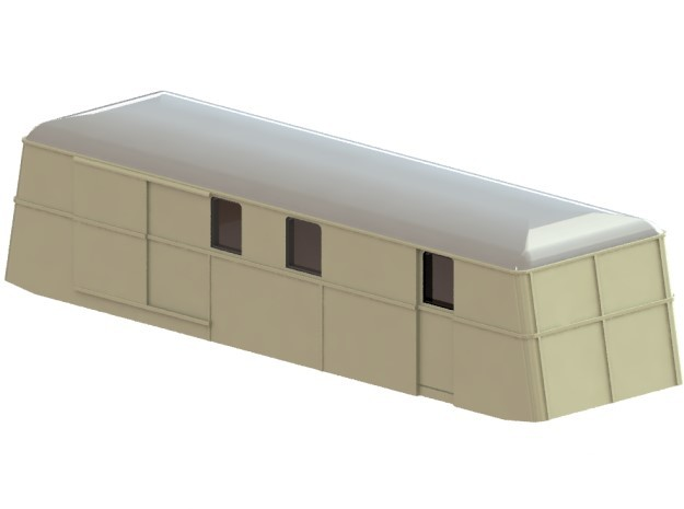 Swedish wagon for railcar UDFo1 N-scale in Smooth Fine Detail Plastic
