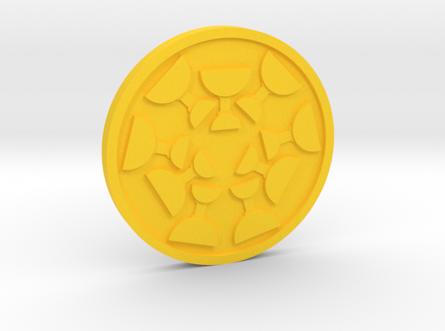 Nine of Cups Coin in Yellow Processed Versatile Plastic