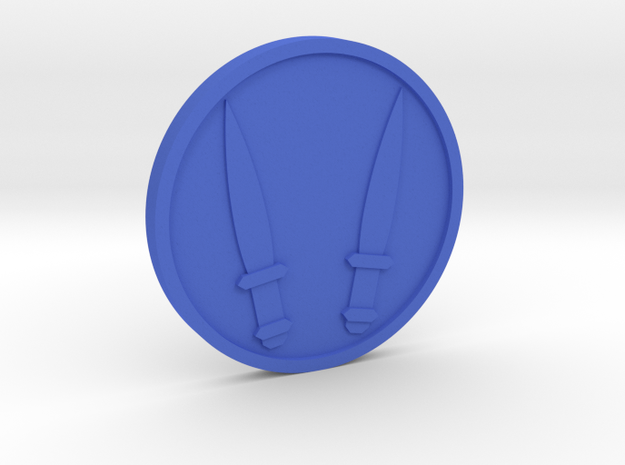 Two of Swords Coin in Blue Processed Versatile Plastic