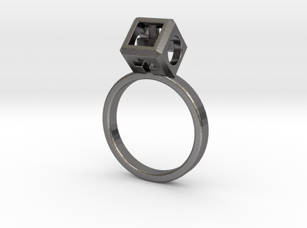 JEWELRY Ring size 6.5 (17mm) with HyperCube stone in Polished Nickel Steel