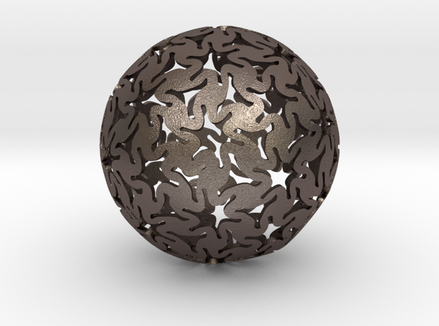 TriHex Sphere in Polished Bronzed Silver Steel