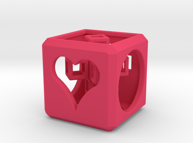 SCULPTURE: Love Cube (30mm) with Upright 3d-Cross 3d printed