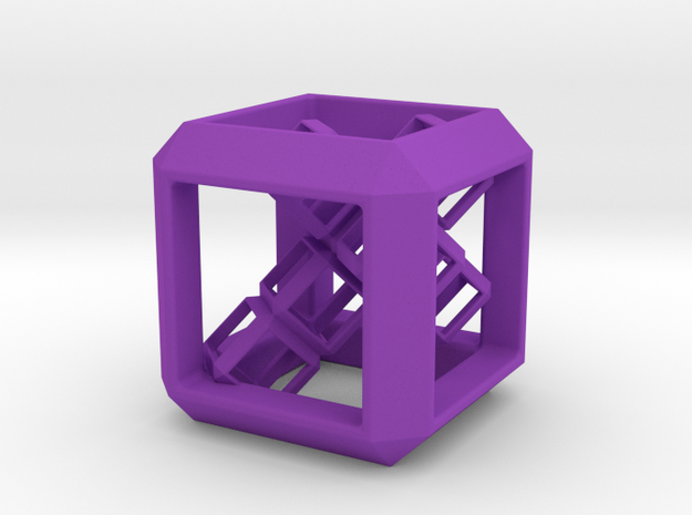 SCULPTURE Cube (30 mm) with 3d-Cross inside in Purple Processed Versatile Plastic