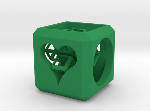 SCULPTURE Cross inside a Cube (25 mm) in Green Processed Versatile Plastic
