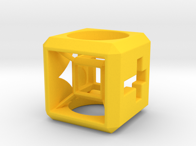 SCULPTURE Small HyperCube Base for 33mm 3d-Cross in Yellow Processed Versatile Plastic