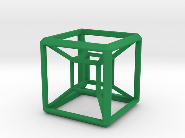 SCULPTURE: HyperCube Base for 48mm 3d-Cross in Green Processed Versatile Plastic