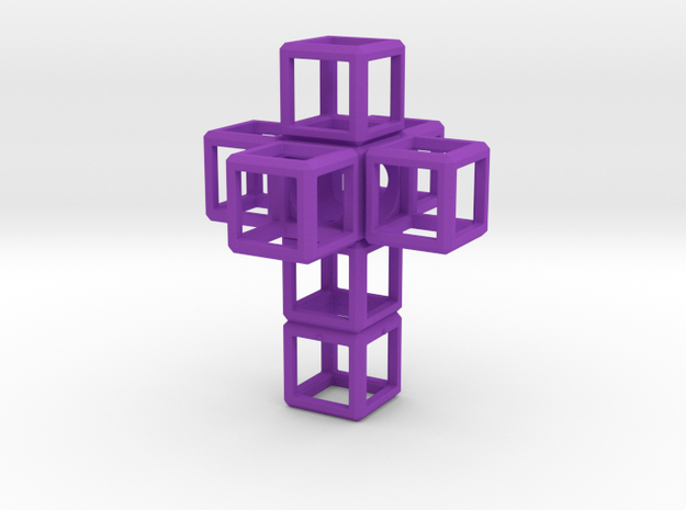 SCULPTURE Cross 48 mm fits the HyperCube in Purple Processed Versatile Plastic