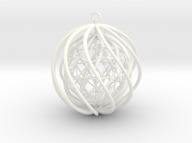 Suspended Icosahedron Ornament 3d printed White Strong & Flexible