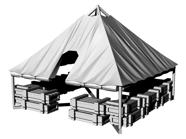 1/100 WWII US M1934 Tent with rolled up sides in Gray PA12