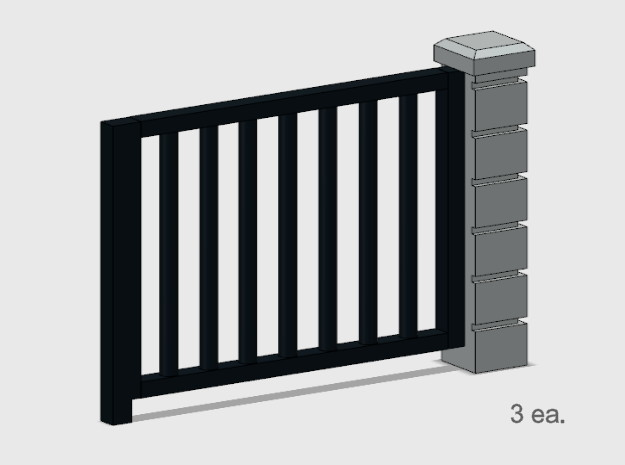 5' x 6' Rod Iron Fence Section - 3X. in Smooth Fine Detail Plastic: 1:87 - HO