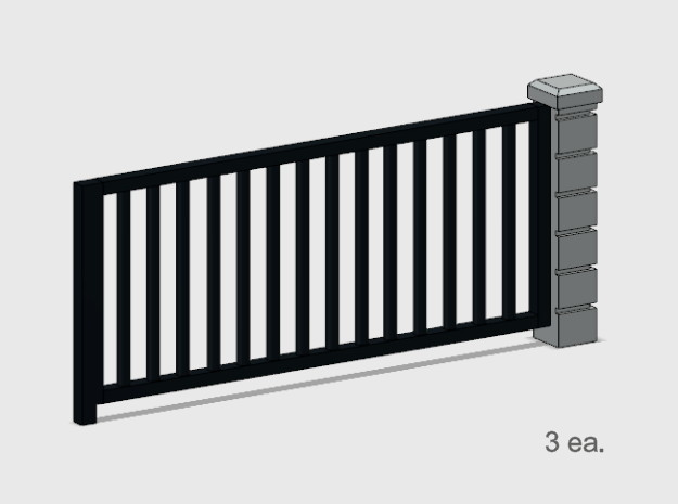 5' x 10' Rod Iron Fence Section - 3X. in Smooth Fine Detail Plastic: 1:87 - HO